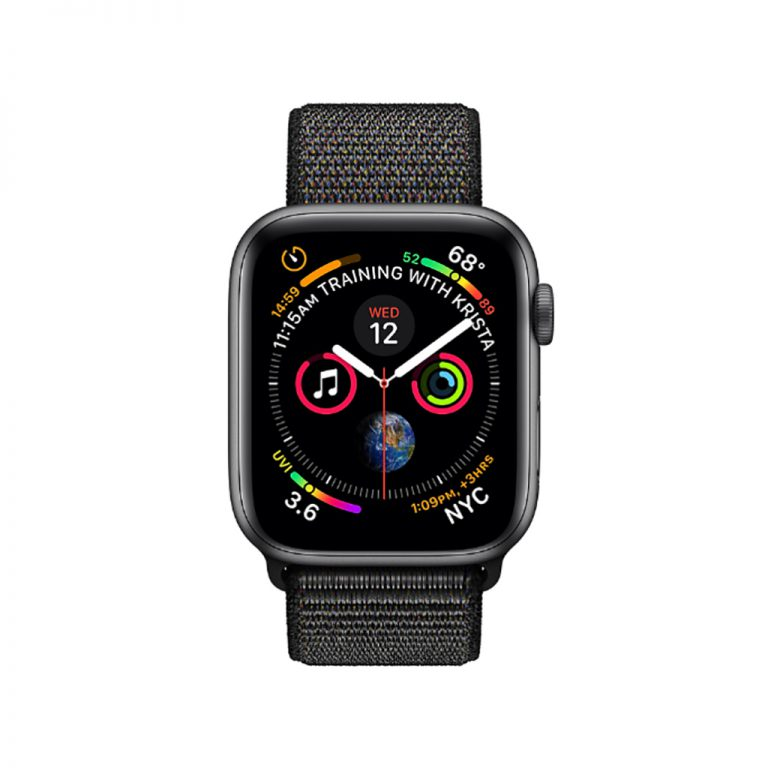 apple watch 4 44mm space gray aluminum case with black sport loop