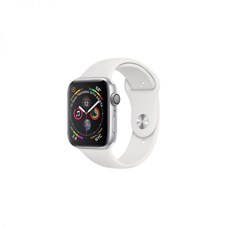 apple watch 4 40mm silver aluminum case with white sport band