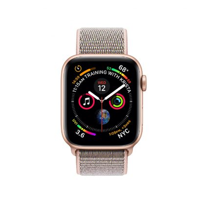 apple watch 4 44mm gold aluminum case with pink sand sport loop