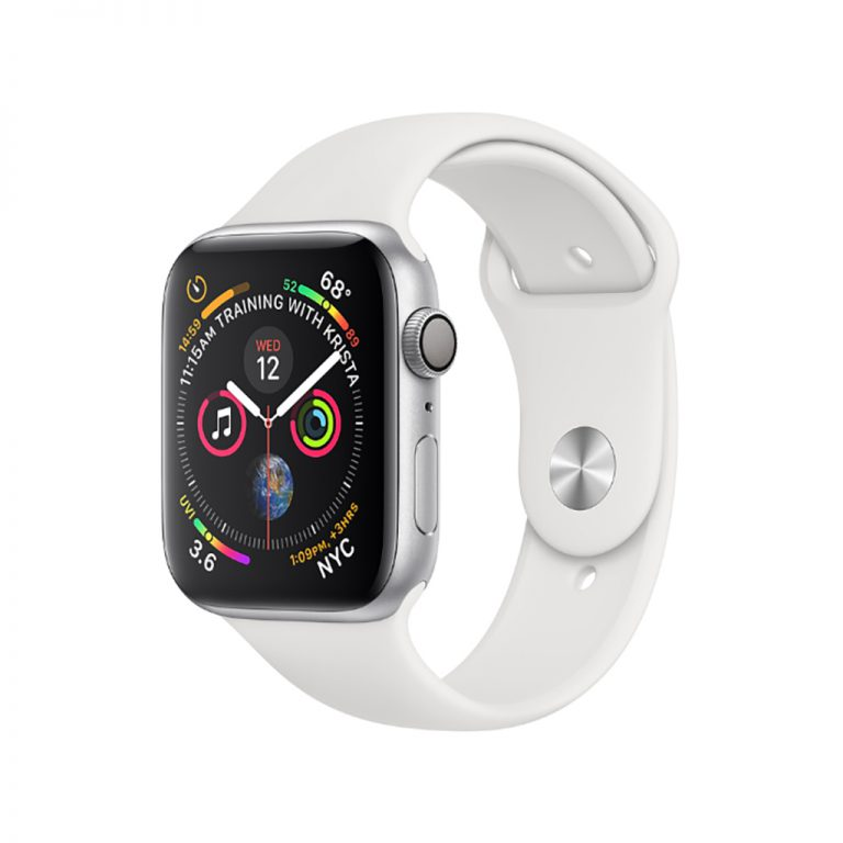 apple watch 4 gps 44mm silver aluminum case with white sport band