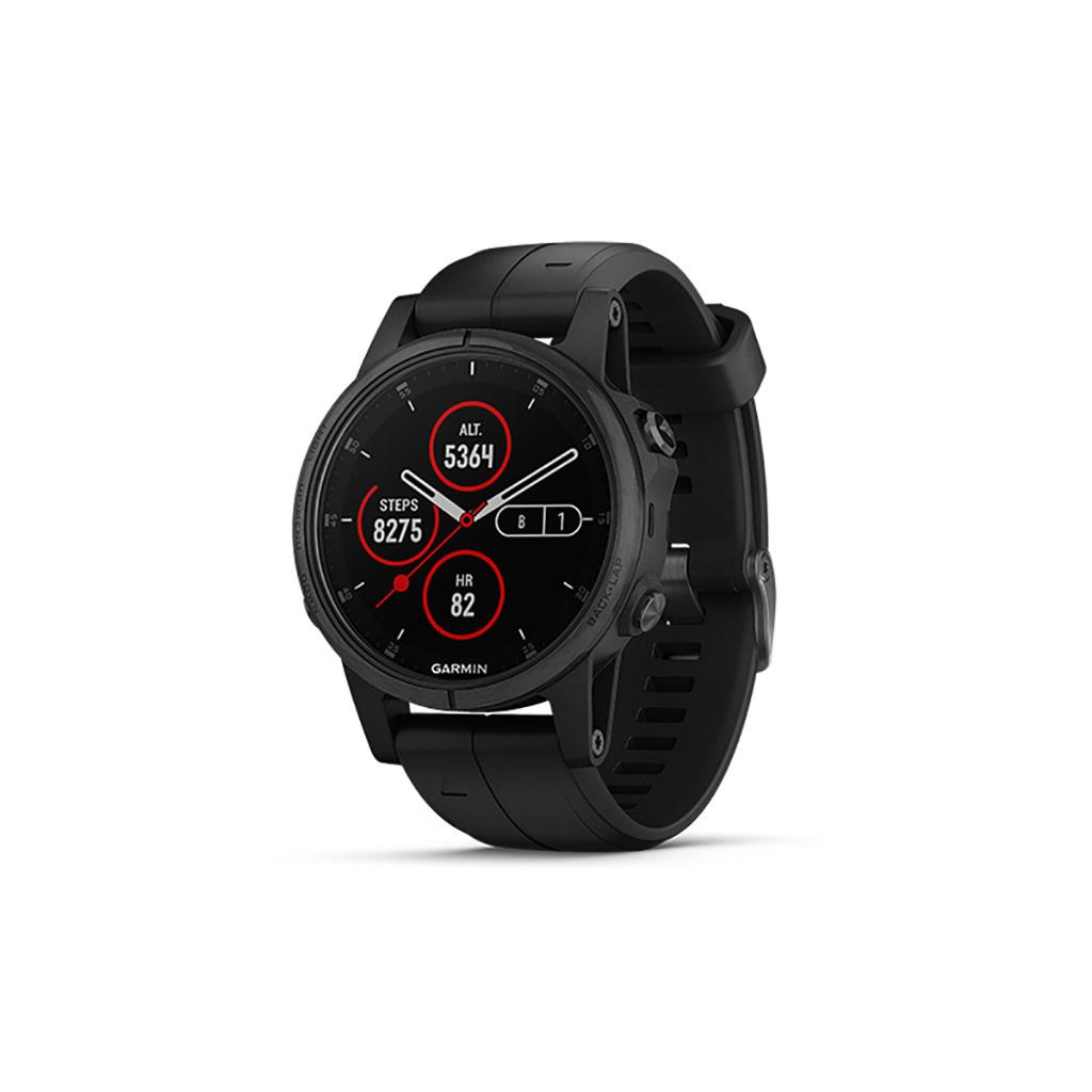 Đồng hồ chạy bộ Garmin fenix 5S Plus Black with Black Band